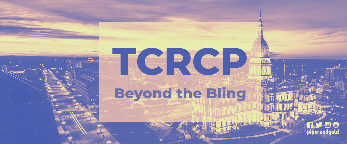 "photo of government building with the words ""TCRCP Beyond the Bling"" in front of it"