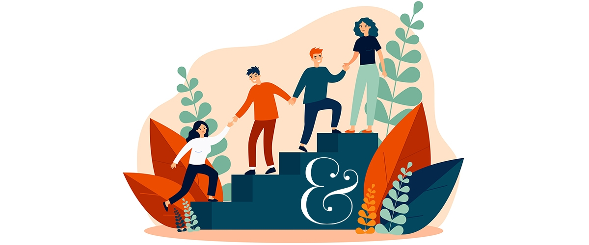 Graphic features four cartoon figures helping each other up a staircase with whimsical leaves in the background.