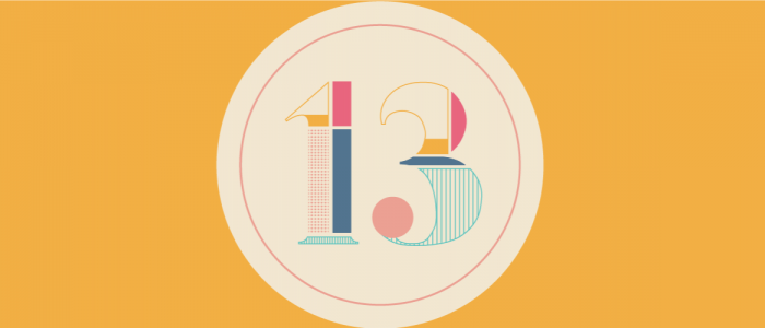 colorful graphic that has the number 13 on it